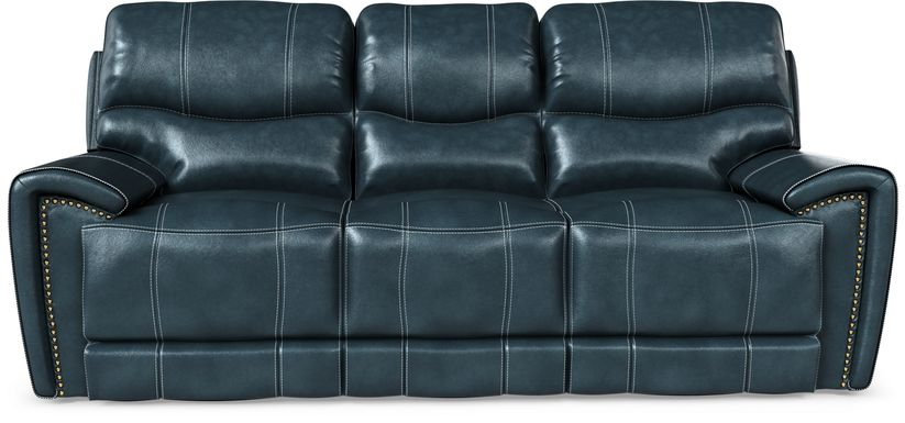Italo Blue Leather Power Plus Reclining Sofa