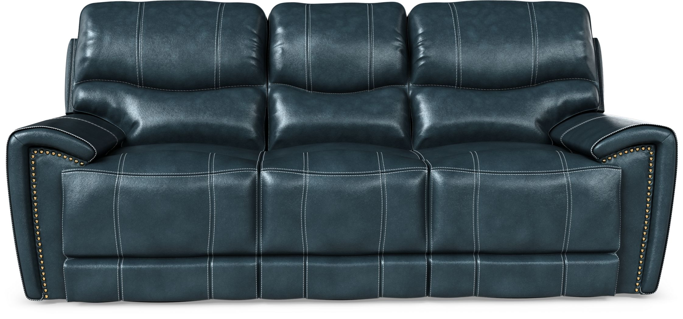 Italo Blue Leather Reclining Sofa Rooms To Go