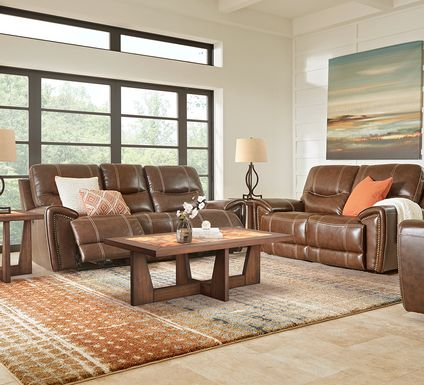 Italo Brown Leather 3 Pc Living Room with Reclining Sofa
