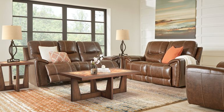 Italo Brown Leather 5 Pc Living Room with Reclining Sofa