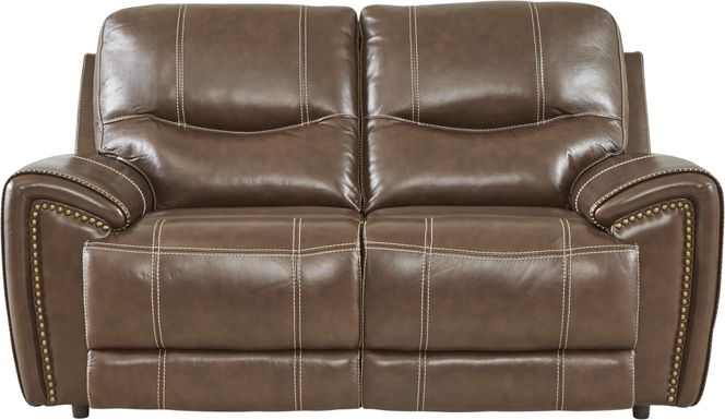 Italo Brown Leather Loveseat