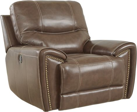 Italo Brown Leather Power Plus Recliner