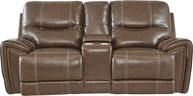 Italo Brown Leather Power Plus Reclining Console Loveseat