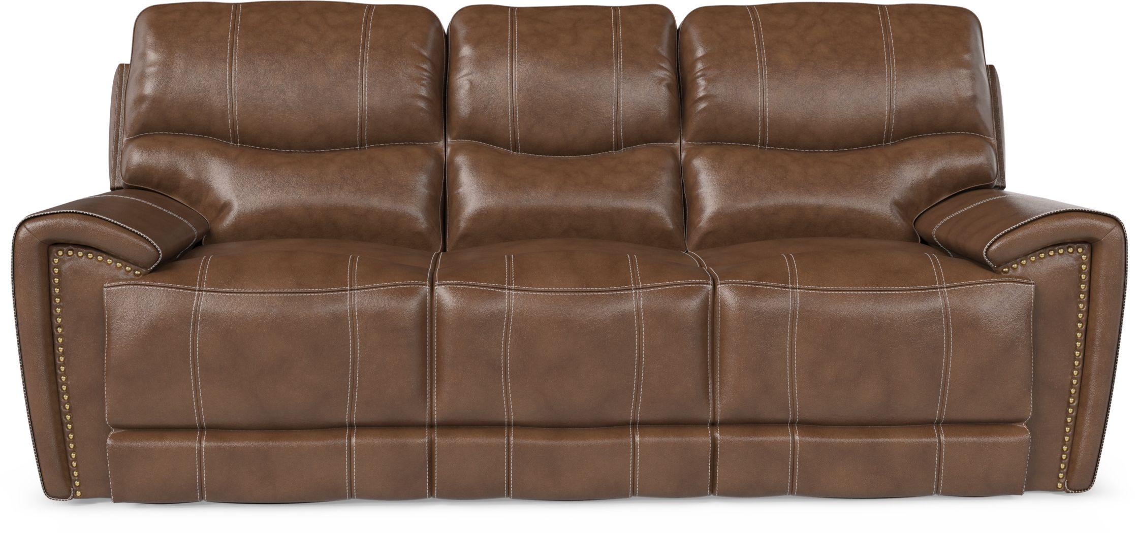 Italo Brown Leather Reclining Sofa