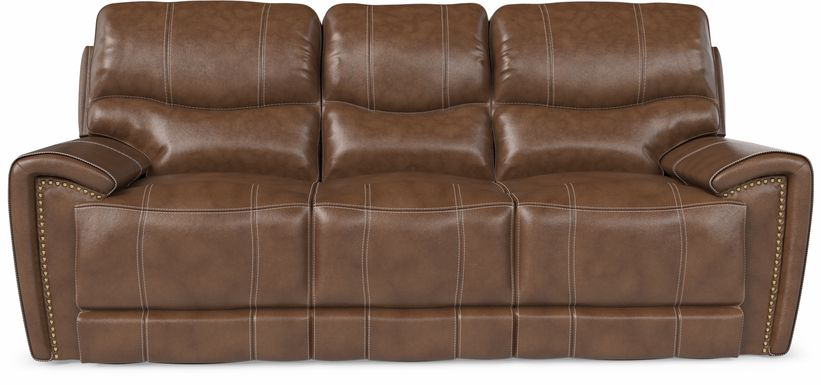Italo Brown Leather Reclining Sofa