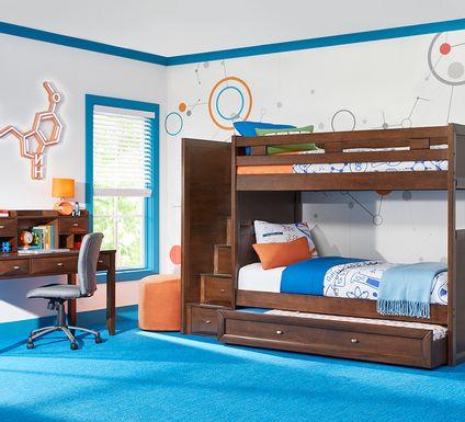 Ivy League 2.0 Walnut Full/Full Step Bunk Bed