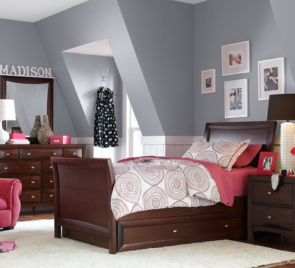 Kids Ivy League Cherry 5 Pc Twin Sleigh Bedroom