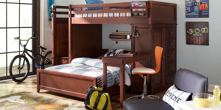 Ivy League Cherry Twin/Full Step Loft Bunk with Chest and Desk