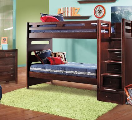 Ivy League Cherry Twin/Twin Step Bunk Bed