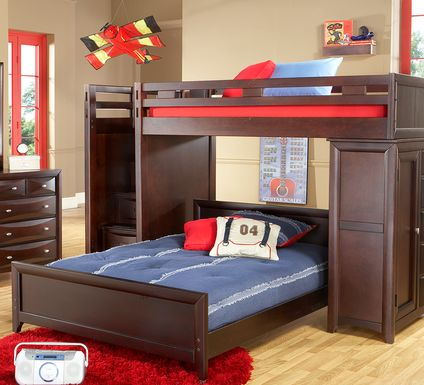 Ivy League Cherry Twin/Twin Step Loft Bunk with Chest