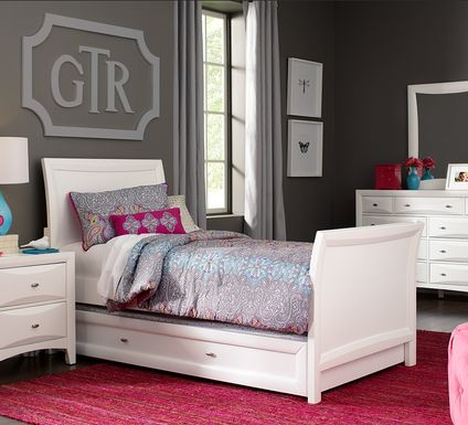 Kids Ivy League White 6 Pc Twin Sleigh Bedroom