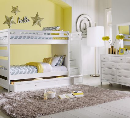Ivy League White Twin/Twin Step Bunk Bed
