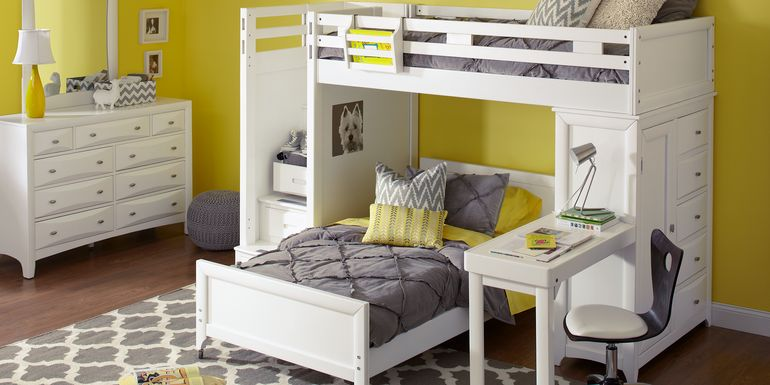 Ivy League White Twin/Twin Step Loft Bunk with Chest and Desk