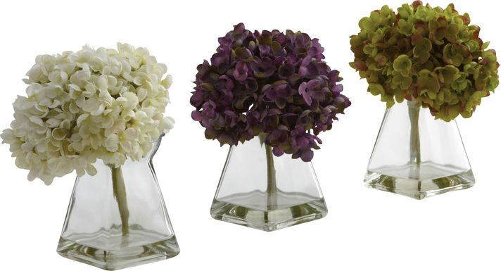 Izelle Green Hydrangea Set of 3 Silk Floral