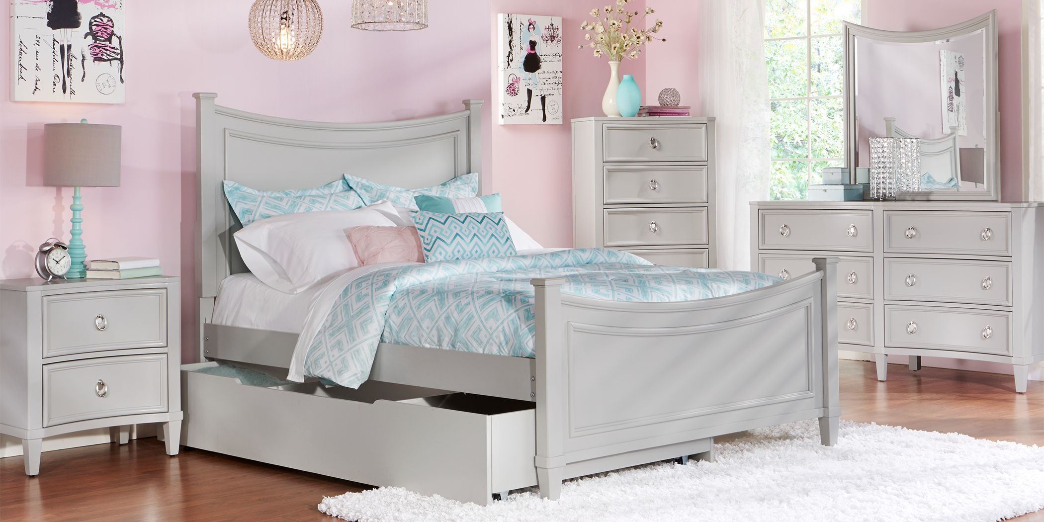 Kids Jaclyn Place Gray 5 Pc Twin Panel Bedroom