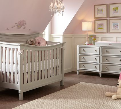 Jaclyn Place Gray 6 Pc Nursery with Toddler & Conversion Rails