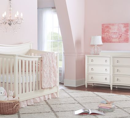 Jaclyn Place Ivory 6 Pc Nursery with Toddler & Conversion Rails