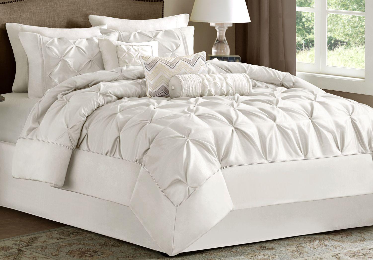 Janelle White 7 Pc Queen Comforter Set