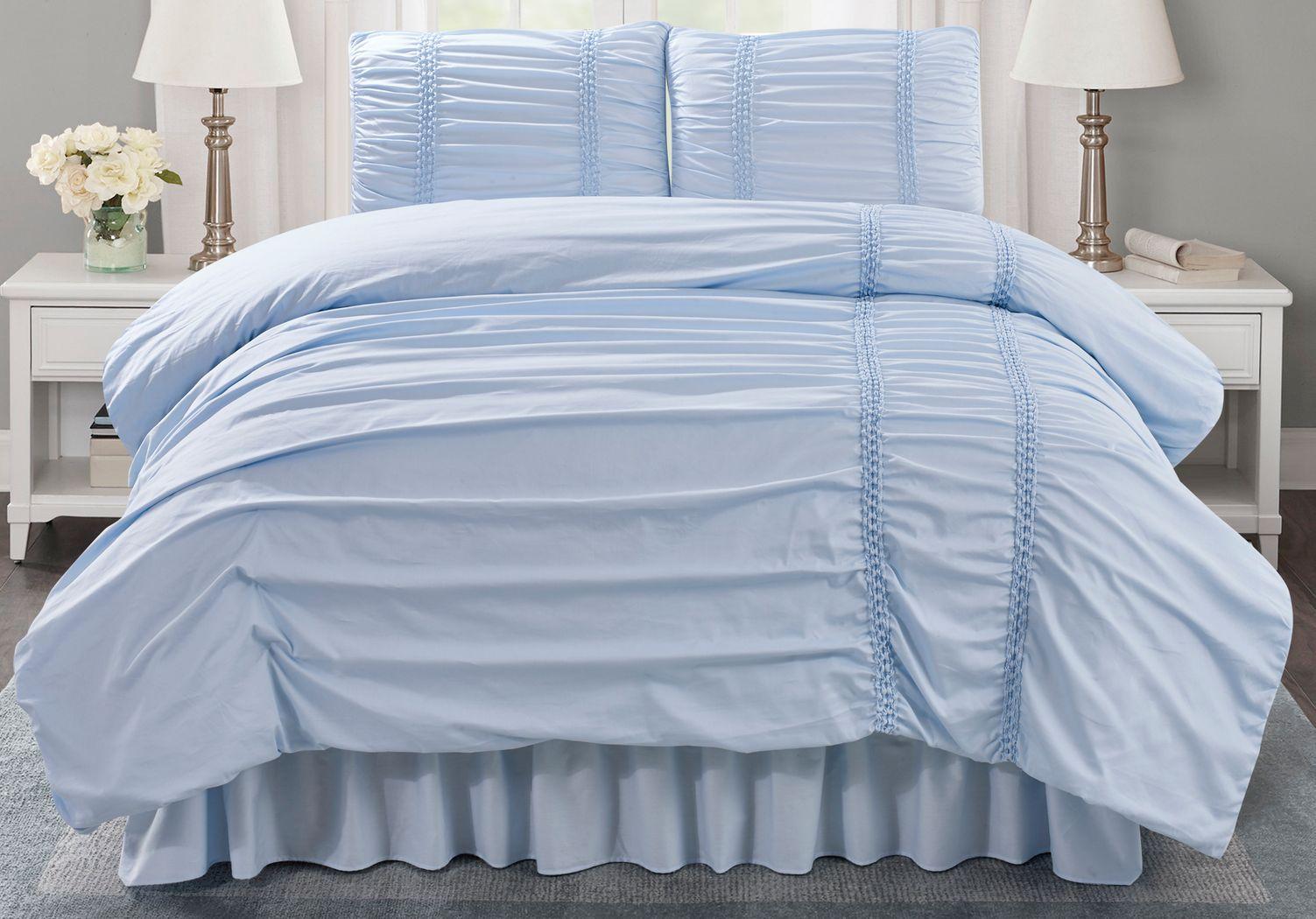 Janine Blue 3 Pc Twin Comforter Set