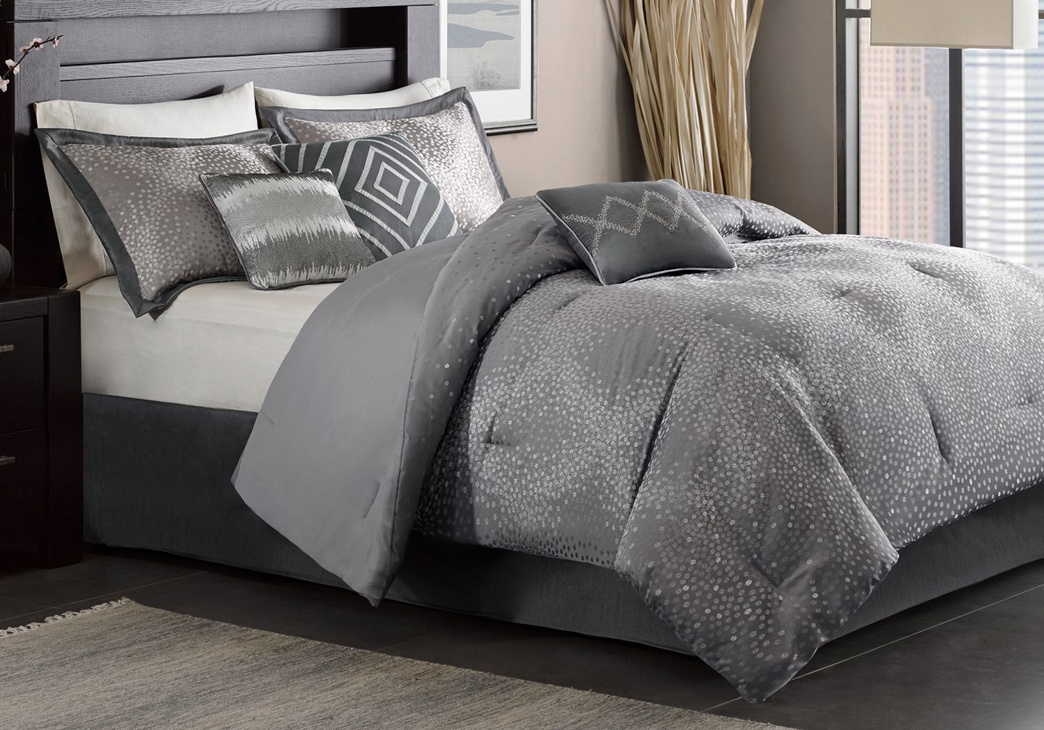 Jaylin Gray 7 Pc King Comforter Set