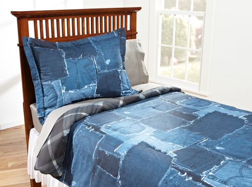Jean Patch Blue 2 Pc Twin Bed Set