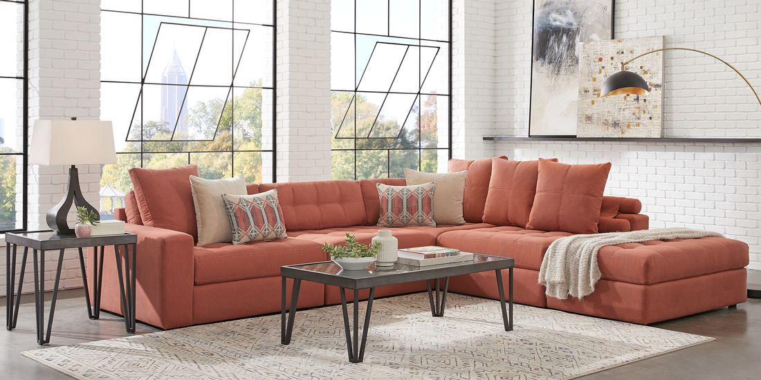terracotta 5 piece sectional seating set