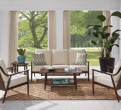 Jorgen Bronze 4 Pc Outdoor Seating Set with Vanilla Cushions