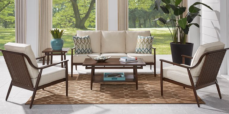 Jorgen Bronze 5 Pc Outdoor Seating Set with Vanilla Cushions