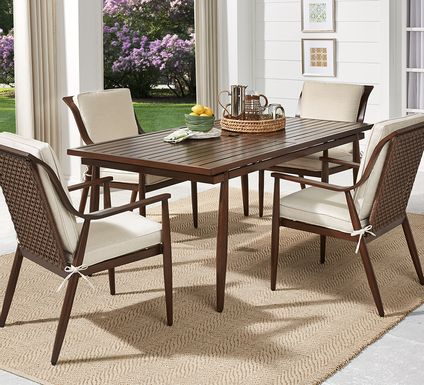 Jorgen Bronze 5 Pc Rectangle Outdoor Dining Set with Vanilla Cushions