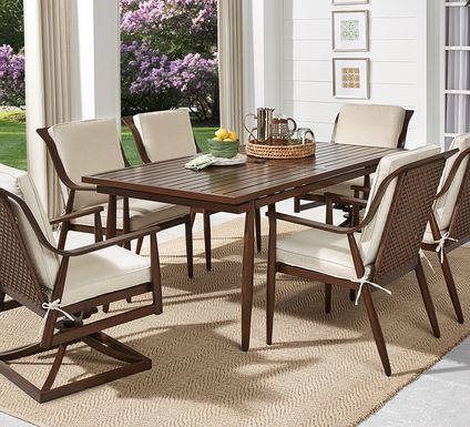 Jorgen Bronze 7 Pc Rectangle Outdoor Dining Set with Vanilla Cushions