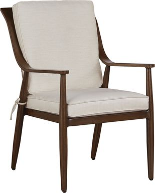Jorgen Bronze Outdoor Dining Arm Chair with Vanilla Cushions
