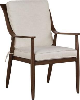 Jorgen Bronze Outdoor Dining Arm Chair with Vanilla Cushions