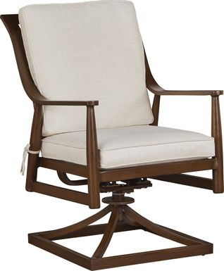 Jorgen Bronze Outdoor Dining Swivel Rocker Chair with Vanilla Cushions