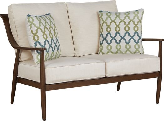 Jorgen Bronze Outdoor Loveseat with Vanilla Cushions