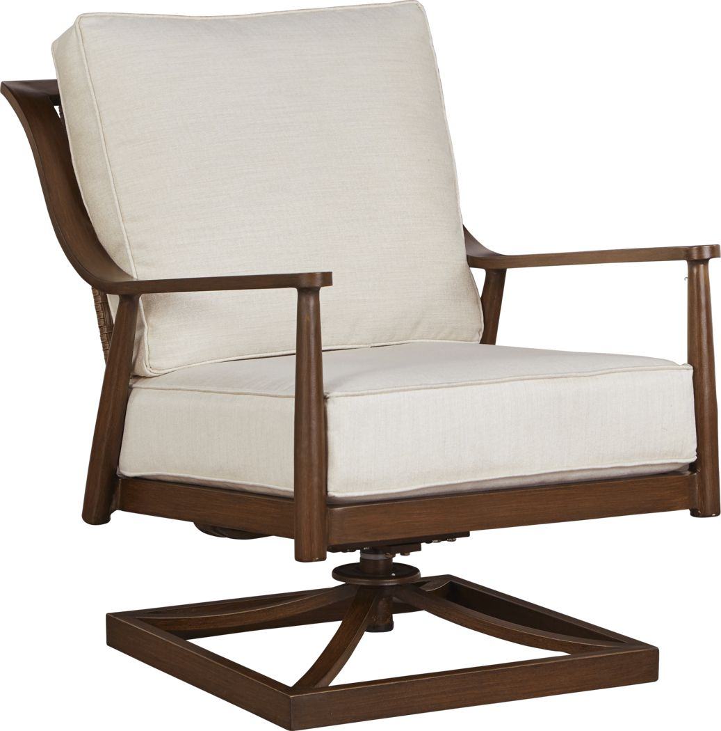 Jorgen Bronze Outdoor Swivel Chair with Vanilla Cushions
