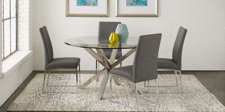 Jules Gray 5 Pc Dining Set with Charcoal Chairs