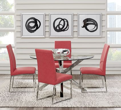 Jules Gray 5 Pc Dining Set with Cinnabar Chairs