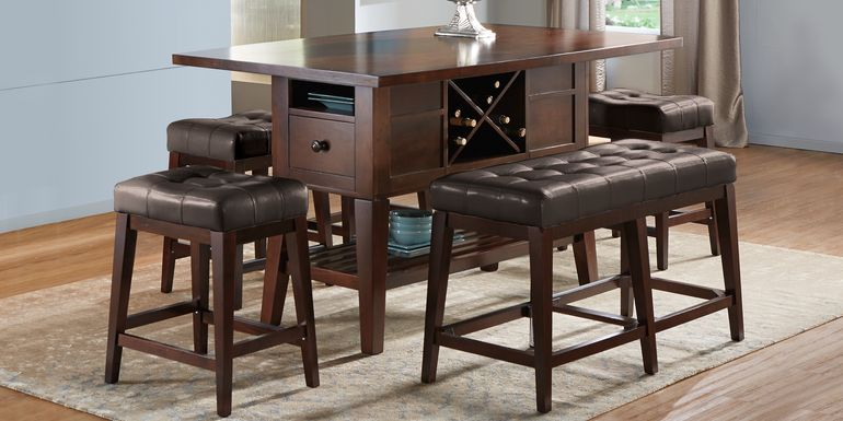 Julian Place Chocolate 5 Pc Counter Height Dining Room with Chocolate Barstools