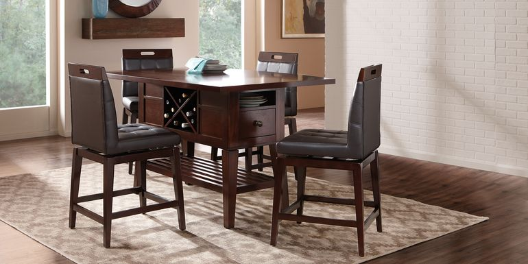 Julian Place Chocolate 5 Pc Counter Height Dining Room with Chocolate Stools