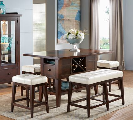 Julian Place Chocolate 5 Pc Counter Height Dining Room with Vanilla Barstools