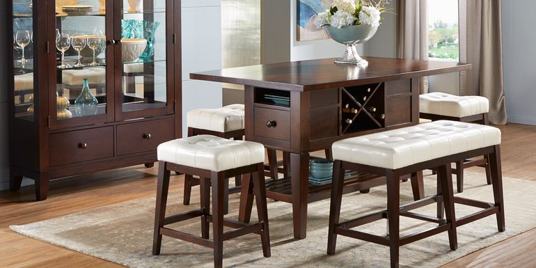Julian Place Chocolate 6 Pc Counter Height Dining Room with Vanilla Barstools