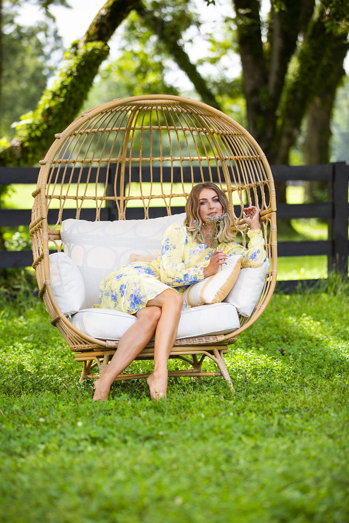 Julianne sitting in Catalina Egg Chair