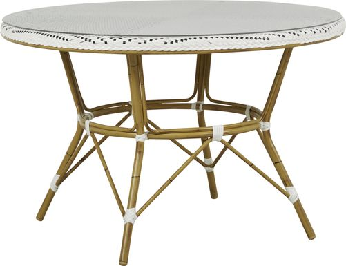 Juliette White 47 in. Round Outdoor Dining Table