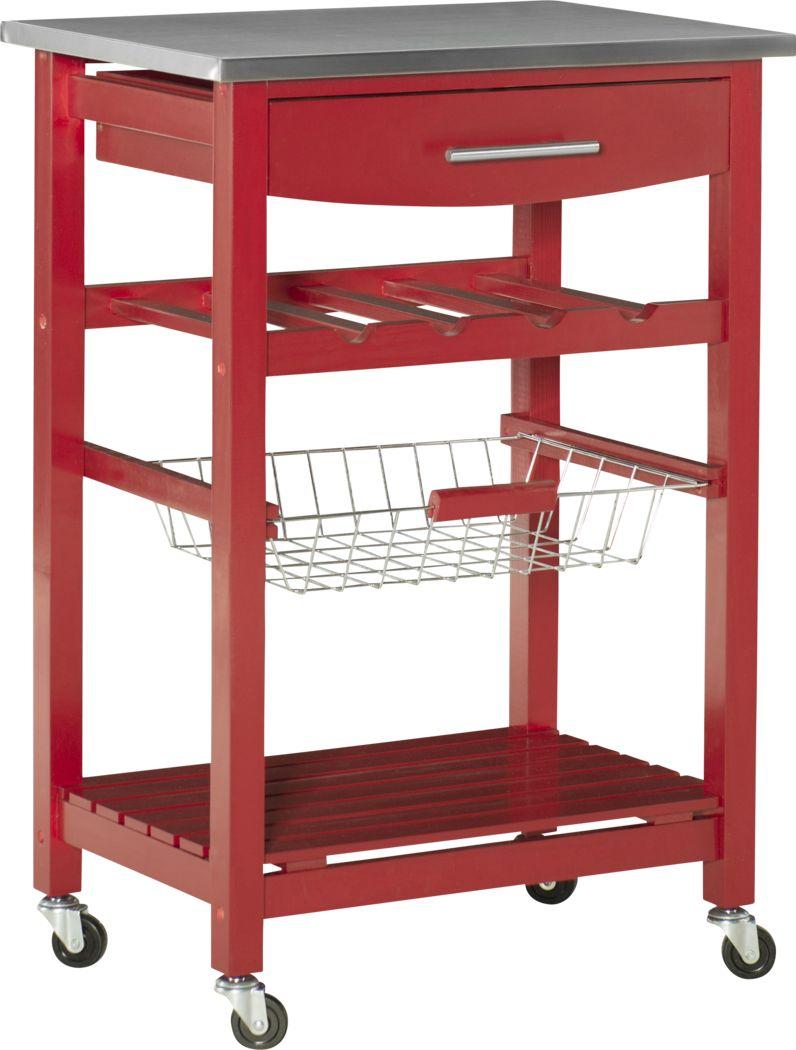 Kalany Red Kitchen Cart