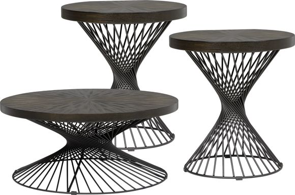 Kanister Brown 3 Pc Table Set