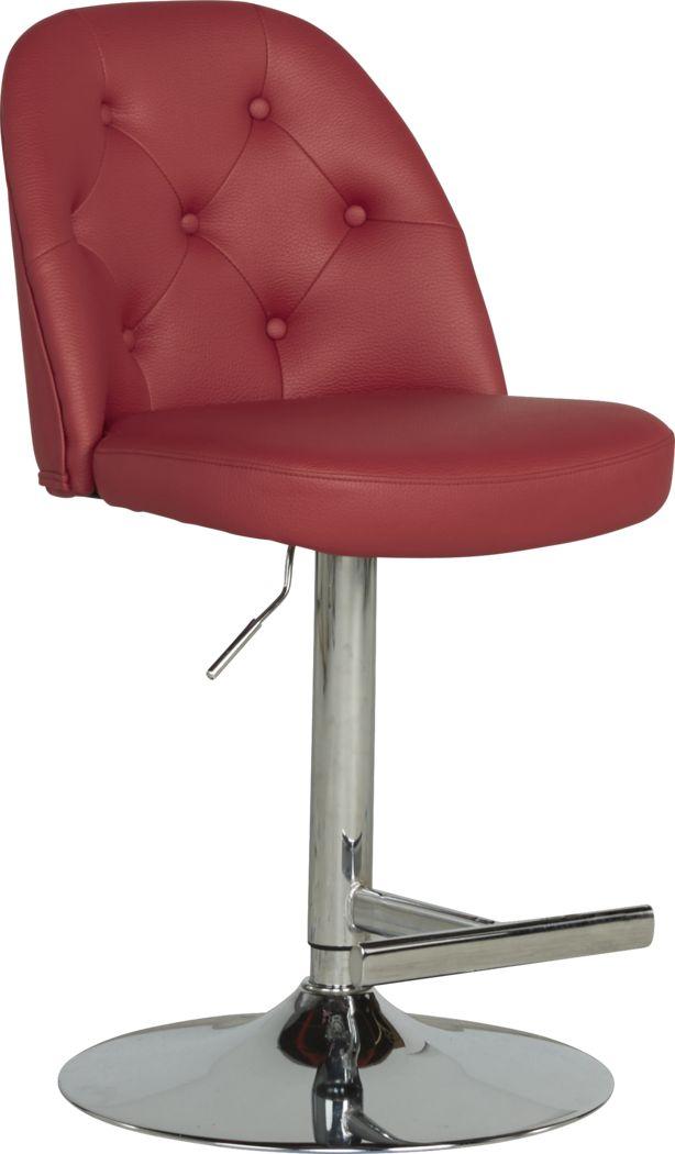 Karyn Red Adjustable Swivel Barstool