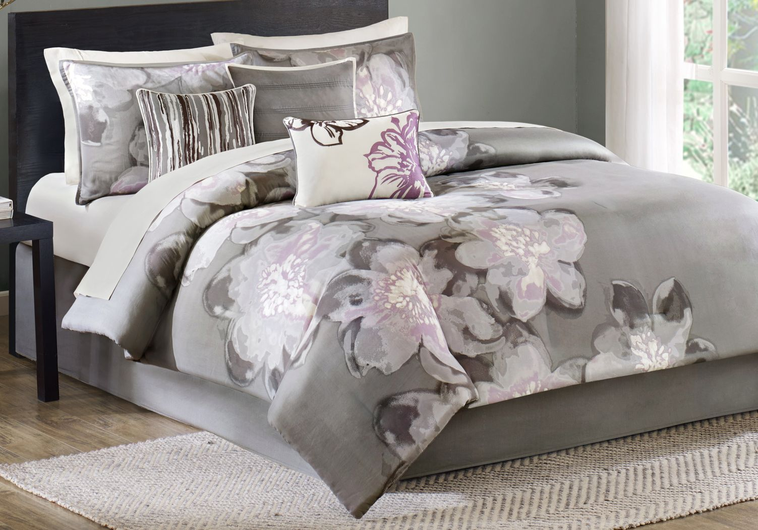Katarina Gray 7 Pc Queen Comforter Set