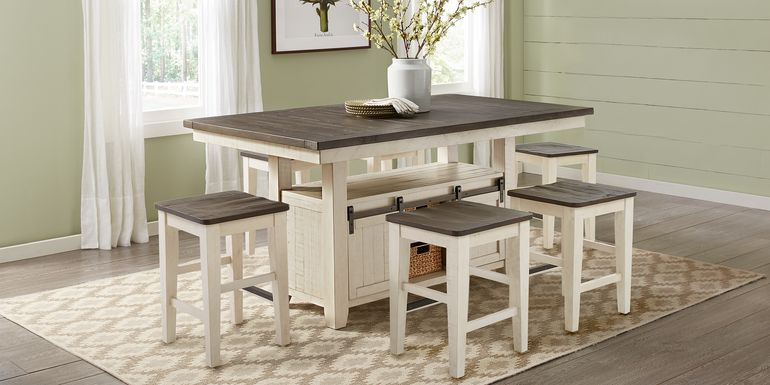 Kenbridge White 5 Pc Counter Height Dining Room with Kyoto Stools