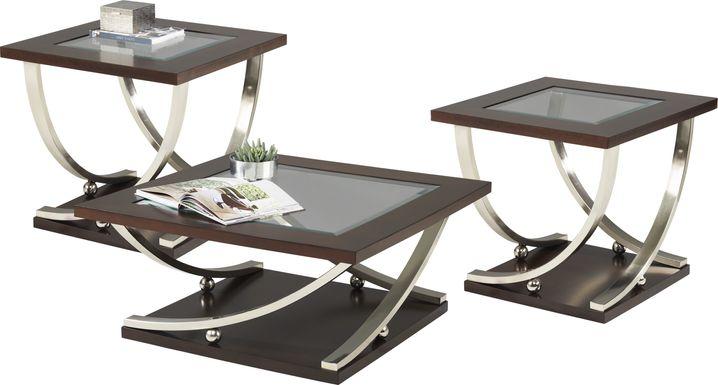 Kendare Brown Cherry 3 Pc Square Table Set