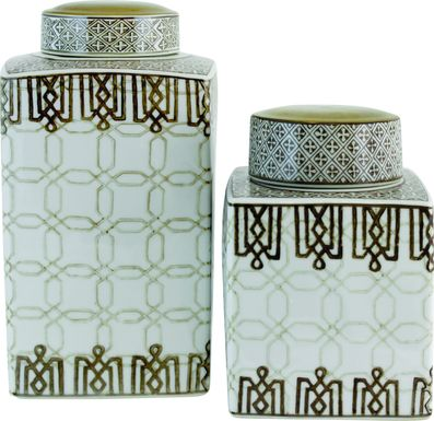 Kenza White Jar Set of 2